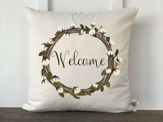 Cotton Wreath Welcome Pillow Cover - Returning Grace Designs