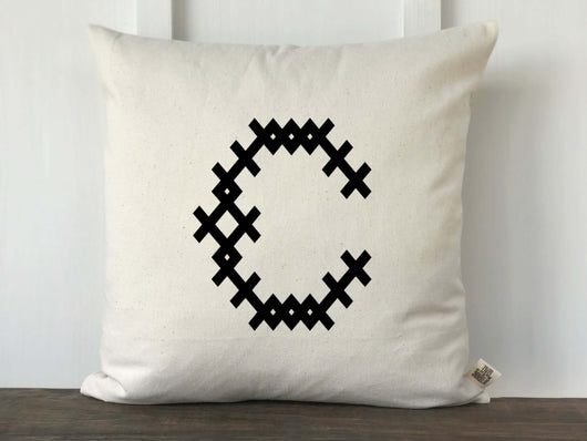 Cross Stitch Pattern Monogrammed Pillow Cover - Returning Grace Designs