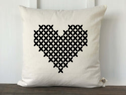Cross Stitch Pattern Heart Pillow Cover - Returning Grace Designs