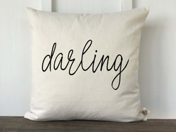 Darling Script Nursery Pillow Cover - Returning Grace Designs