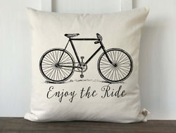 Vintage Bicycle Enjoy the Ride Canvas Pillow Cover in English - Returning Grace Designs