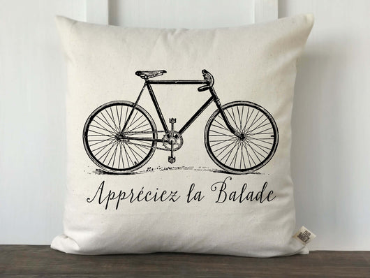 Vintage Bicycle Enjoy the Ride Pillow Cover in  French - Returning Grace Designs