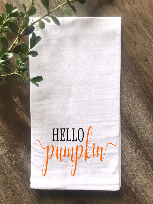 Hello Pumpkin Floursack Tea Towel - Returning Grace Designs