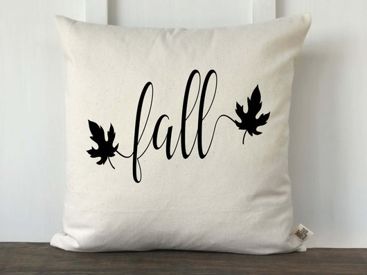 Fall Script with Leaves Pillow Cover - Returning Grace Designs