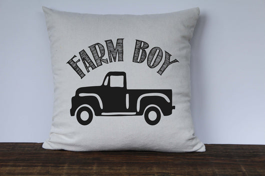 Farm Boy Vintage Truck Pillow Cover - Returning Grace Designs