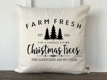 Farm Fresh Christmas Trees Farmhouse Pillow Cover - Returning Grace Designs