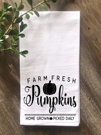 Farm Fresh Pumpkins Flour Sack Tea Towel - Returning Grace Designs