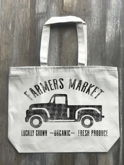 Farmers Market Vintage Truck Canvas Zippered Tote - Returning Grace Designs