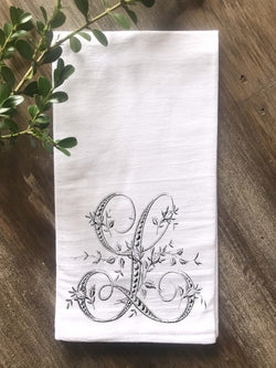 Floral French Monogram Flour Sack Towel - Returning Grace Designs