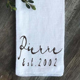 French Script Personalized Flour Sack Towel - Returning Grace Designs