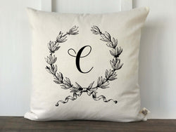 French Wreath Monogram Pillow Cover - Returning Grace Designs