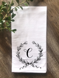 French Farmhouse Wreath Monogrammed Flour Sack Tea Towel - Returning Grace Designs