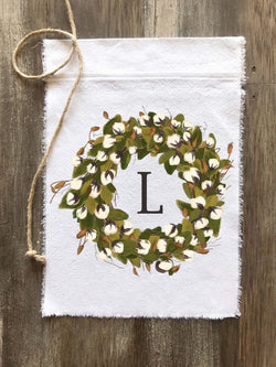 Full Cotton Wreath Initial Flag - Returning Grace Designs