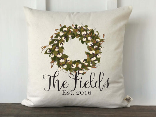 Personalized Full Cotton Wreath Pillow Cover - Returning Grace Designs