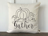 Gather Pumpkin Farmhouse Fall Pillow Cover - Returning Grace Designs