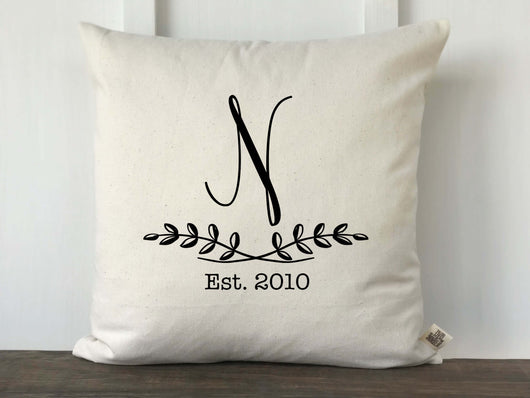 Personalized Leaf Branch Pillow Cover - Initial - Returning Grace Designs
