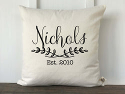 Personalized Leaf Branch Pillow Cover - Name or Initial - Returning Grace Designs