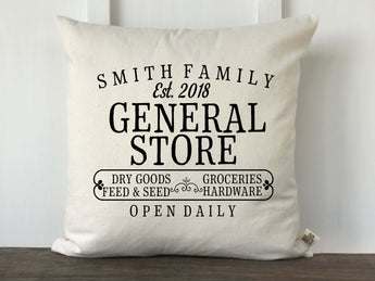 General Store Personalized Farmhouse Pillow Cover - Returning Grace Designs
