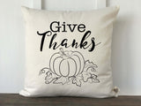 Give Thanks Pillow Cover in Gray or Black - Returning Grace Designs