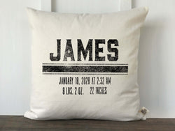 Grain Sack Stripe Personalized Baby Pillow Cover - Returning Grace Designs
