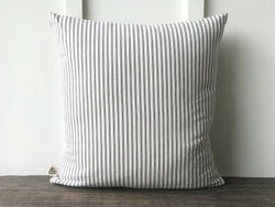 Gray Ticking Pillow Cover - Returning Grace Designs