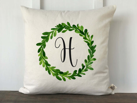 Greenery Wreath Personalized Pillow Cover - Returning Grace Designs