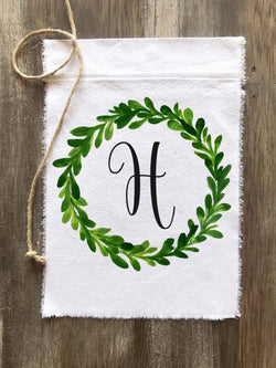 Greenery Wreath Personalized Canvas Flag - Returning Grace Designs