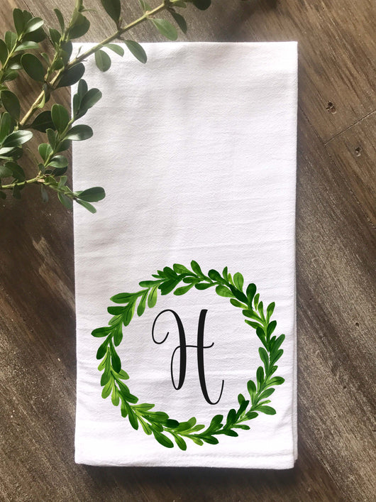 Greenery Wreath Personalized Flour Sack Tea Towel - Returning Grace Designs
