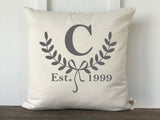 Half Laurel Monogram Pillow Cover - Returning Grace Designs