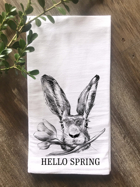 Hand Drawn Rabbit with Flower Hello Spring Flour Sack Tea Towel - Returning Grace Designs