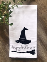 Happy Halloween with Witch Hat and Broom Tea Towel