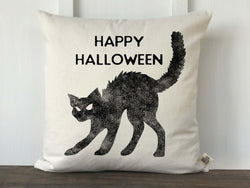 Black Cat Happy Halloween Pillow Cover