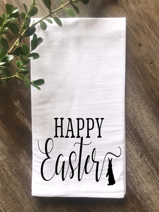 Happy Easter Flour Sack Tea Towel - Returning Grace Designs