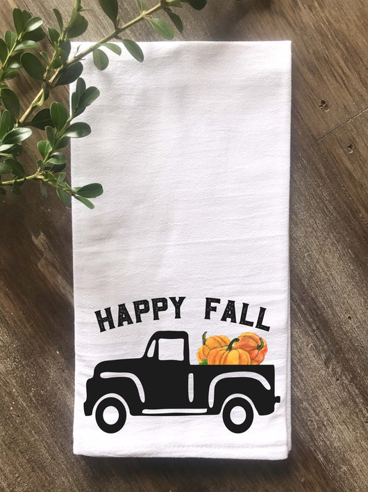 Happy Fall Vintage Truck with Pumpkins Flour Sack Tea Towel - Returning Grace Designs