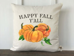 Happy Fall Y'all Watercolor Pumpkins Pillow Cover - Returning Grace Designs