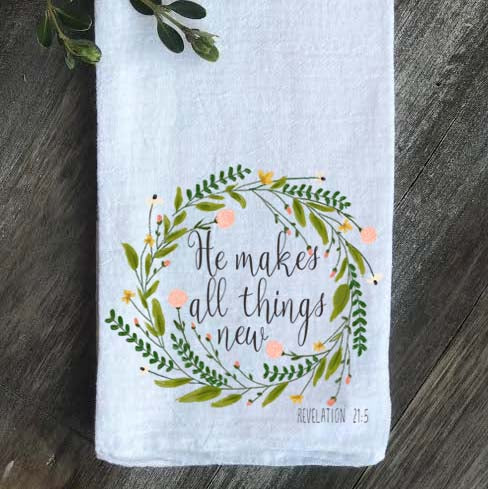 He Makes all Things New Pink Floral Wreath Tea Towel - Returning Grace Designs