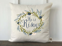 He is Risen Blue Watercolor Floral Wreath Pillow Cover - Returning Grace Designs