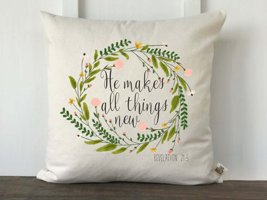 He Makes All Things New Watercolor Floral Wreath Pillow Cover - Returning Grace Designs