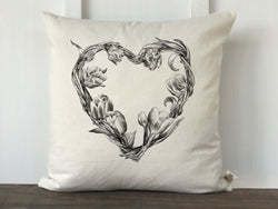 Vintage Floral Heart Wreath Pillow Cover - Returning Grace Designs
