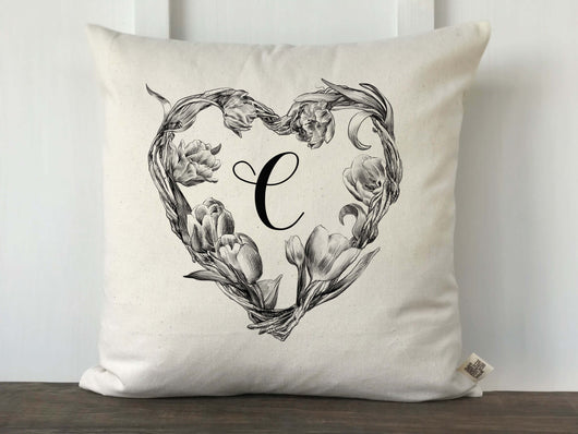 Vintage Floral Heart Wreath Monogrammed Pillow Cover - Returning Grace Designs