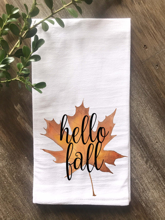 Hello Fall Watercolor Maple Leaf Flour Sack Tea Towel - Returning Grace Designs