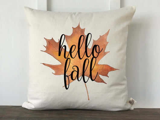 Hello Fall Watercolor Maple Leaf Pillow Cover - Returning Grace Designs