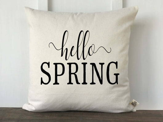 Hello Spring Script Pillow Cover - Returning Grace Designs