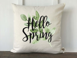 Hello Spring Greenery Pillow Cover - Returning Grace Designs