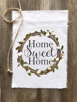 Home Sweet Home Cotton Wreath Canvas Flag - Returning Grace Designs