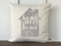 Home Sweet Home Personalized Pillow Cover in Dark or Light Gray - Returning Grace Designs