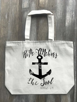 Hope Anchors the Soul Hebrews 6:19 Canvas Zippered Tote - Returning Grace Designs