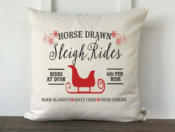 Horse Drawn Sleigh Rides Farmhouse Pillow Cover - Returning Grace Designs