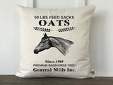 Horse Oats Feed Sack Pillow Cover - Returning Grace Designs