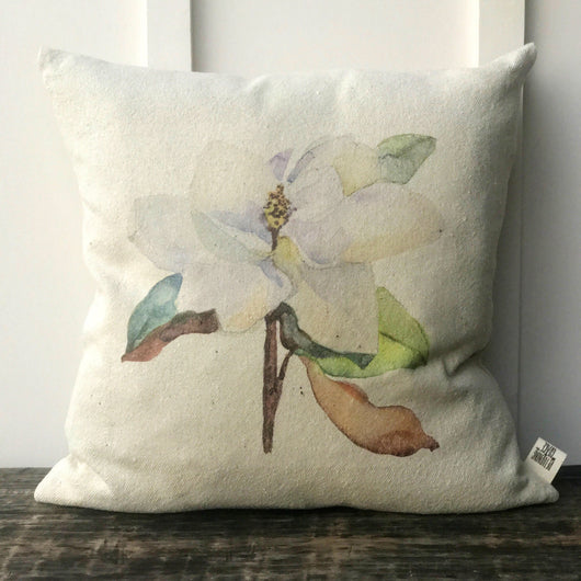 Magnolia Watercolor Solid Grain Sack Pillow Cover - Returning Grace Designs